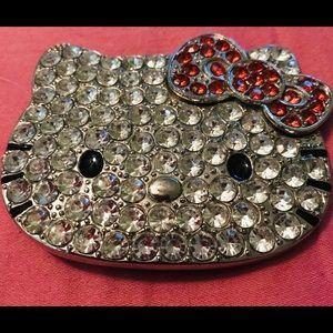Hello Kitty CZ rhinestone belt buckle!